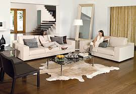 modern white leather living