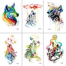 BEST Fran fansHot F <b>new 2 pcs</b> set lovely Design Wolf Fake Tattoo ...