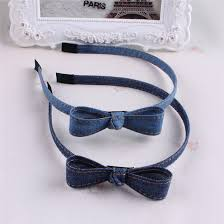 Hot Sale <b>New Fashion</b> Korean Jean Bowknot Hairbands <b>Handmade</b> ...