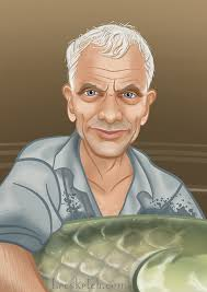 "This travel wrinkled, English mouthed angler adventurer, Jeremy Wade, badasses his way through the cloudy rivers of the world on Animal Planet's ""River ... - BecsketchJeremyWade"