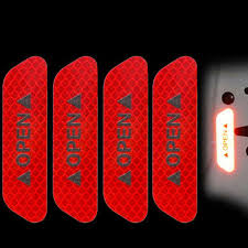 <b>4Pcs</b>/Set <b>Car OPEN</b> Reflective Tape Warning Mark Reflective Strips ...