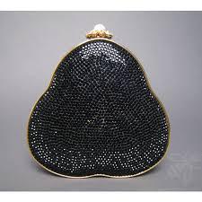 authentic judith leiber black crystal minaudiere bag authentic black crystal