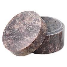 Trinket box, soapstone (<b>natural</b>), <b>1</b>-<b>1</b>/4 x 2-<b>1</b>/4 <b>inch round</b>. Sold ...