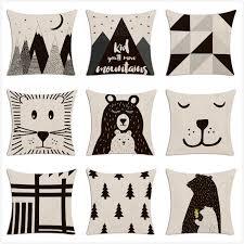 <b>Tribe Woodland Animal</b> Cushion Cover <b>Bear Fox</b> Print Linen Pillow ...