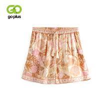 2019 <b>GOPLUS Summer Shorts Women</b> Vintage Orange Print Bow ...