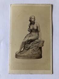 CDV Photo Nude Woman <b>Statue</b> On Pedestal <b>Classical</b> Joseph ...