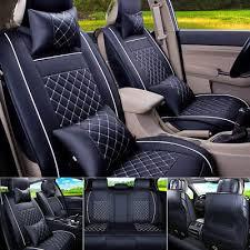 <b>Car Seat</b> Cover PU Leather Front & Rear <b>5</b>-<b>Seats</b> Auto Size L W ...