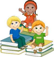picture of children sitting on piles of books while smiling and waving