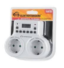 <b>Розетка</b>-<b>таймер Elektrostandard TMH-E-5 16A</b> x2 IP20 Белый ...