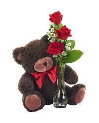 <b>Bear</b> with <b>Red Rose</b> Bud Vase in Elizabeth PA - Barton's <b>Flowers</b> ...