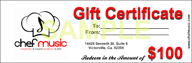 chef music gift shop gift certificate 100