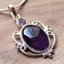 <b>100</b>% <b>925</b> Solid <b>Sterling Silver</b> Semi-Precious Purple Amethyst ...