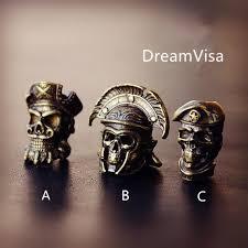 Handmade <b>Brass</b> Skull Steampunk <b>Bead Lanyard</b> Knife Torch | Etsy