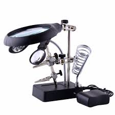 newacalox welding repair tools third hand soldering solder iron stand holder station magnifying glass clamp 5 led clip magnifier