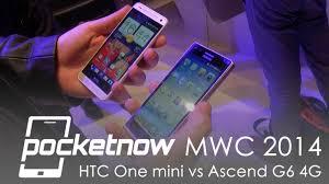 HTC One mini vs Huawei Ascend G6 4G - MWC 2014 - YouTube