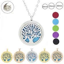 <b>Tree</b> of life <b>magnetic</b> cheap perfume diffuser necklace 316L ...