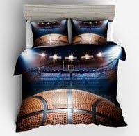 <b>3D Sports</b> Basketball Printed Bedding Set <b>Sport Style</b> Court Quilt ...