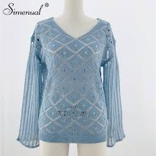 Detail Feedback Questions about <b>Simenual</b> Hollow Out Knittwear ...