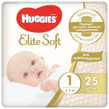 <b>Huggies подгузники Elite</b> Soft 1 (3-5 кг) 25 шт. — купить по ...