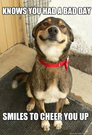 Knows you had a bad day Smiles to cheer you up - Good Dog Greg ... via Relatably.com