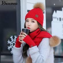 Шерстяные вязаные зимние шапки для женщин, шапка, шарф ...
