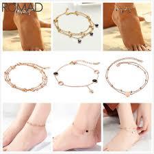 <b>ROMAD</b> Stainless Steel Anklets Boho Anklets For Women Heart <b>Evil</b> ...