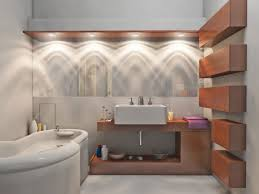 amazing contemporary bathroom with bathroom lighting fixtures completed with white bathtub and wall vessel sink applying amazing amazing bathroom lighting