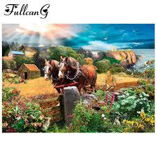 FULLCANG diy <b>animals</b> diamond painting hardworking horse <b>full</b> ...