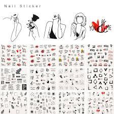 <b>12PCS</b> English Phrases Nails <b>Stickers</b> Water Decals Slider ...