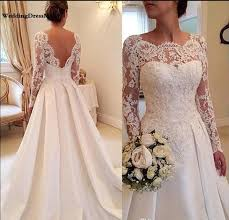 Discount 2019 Illusion Lace Long Sleeves Wedding Dresses <b>A Line</b> ...