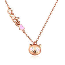 925 sterling silver cute kitten necklace female natural heart shaped pendant garnet pearl clavicle chain j0135