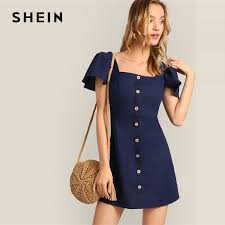 SHEIN Navy Single Breasted Flutter Sleeve Plain Short Dress ...