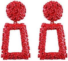ATIMIGO Red Statement Drop Earrings Large Metal ... - Amazon.com