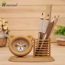 happy bear pen case combination alarm clock children cartoon bear shape home office table decoration 1 buy shape home office