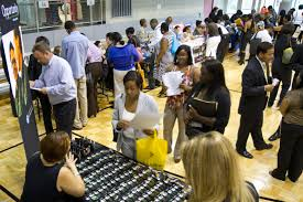 america s hidden unemployment crisis people wait in line at the starbucks career booth at job fair in harlem new