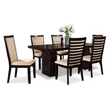 seven piece dining set: paragon table and  chairs merlot and camel