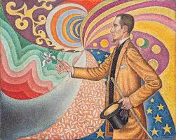 neo impressionism paul signac 1890 portrait of feacutelix feacuteneacuteon in front of an e l of a rhythmic background of measures and angles shades and colors oil on canvas