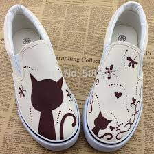 Cute And <b>Sweet Cartoon Cat</b> Painting Pattern Canvas Shoes Hand ...