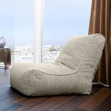 Comfy Floor Seating Funiture Soft Light Grey Bean Bag Chairs Over Varnished Hardwood