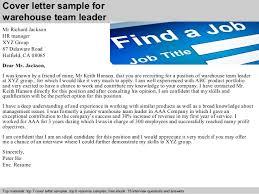 cover letter sample for warehouse team leader executive team leader cover letter