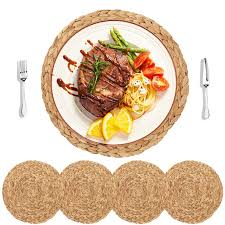 HomeDo 4Pack Large Round Woven <b>Placemats</b> for Dining Table ...