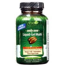 Irwin Naturals <b>Only One Liquid Gel Multi</b> with Iron - 60 Softgels ...