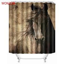 Online Shop <b>WONZOM</b> Animal Horse Shower Bathroom Waterproof ...