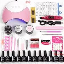 Acrylic <b>Nail Kit</b> Gel <b>Nail Set Nail</b> Extension <b>Kit 36w</b>/48w/80w Led ...