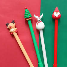 <b>4pcs Merry Christmas</b> Gift Black Color Gel Pen <b>Santa</b> Claus Tree Elk ...