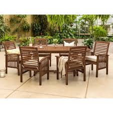 Manor Park <b>7</b>-<b>Piece Solid</b> Wood Outdoor Patio Dining Set, Dark Brown