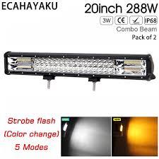 <b>20inch</b> Triple Rows Car Led Light Bar <b>288w</b> White/Yellow Color ...