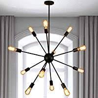 YANCEN Sputnik Chandelier 12 <b>Lights Antique</b> Black Mid Century ...