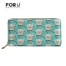 <b>FORUDESIGNS Women Wallets</b> Cute Maltese Florals Dog Printing ...