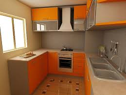 modular kitchen colors: simple design ideas of small kitchen with u shape modular kitchen and combine with orange color